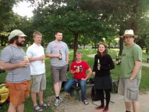 Jelen, Vojta, Marek, Kuba, Michaela, Honza - někteří účastníci pražského GeodataHackathonu